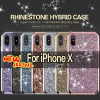rhinestone case al por mayor-Hybrid 2 in 1 Phone Cases Diamante Rhinestone Bling Funda Cajas de teléfono celular para iPhone X, 8, 7, 6, 5