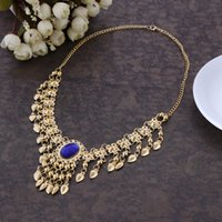Wholesale Belly Dance Jewelry Gold - Fashion Sexy Women`s Belly Dance Necklace Alloy With Gems Clavicle Chain Indian Dance Performance Props Jewelry Accessory Wholesale