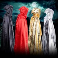 Wholesale witch cape black - Gothic Hooded Stain Cloak Wicca Robe Witch Larp Cape Women Men Halloween Costumes Witche Vampires Fancy Party
