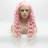 ısıya dayanıklı sentetik saç pembe toptan satış-Iwona Saç Kıvırcık Uzun Pembe Kök Beyaz Ombre Peruk 18 # 3100B / 1001 Yarım El Bağladı Isıya Dayanıklı Sentetik Dantel Ön Peruk