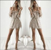 Wholesale Dress Cheap Night Long - 2016 Short Sequines Dresses Cheap mini prom Party Gowns Sequines Dresses Off Shoulder Slash Neck Long Sleeved Mesh Shorts Dresses In Store