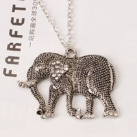 Wholesale Long Gold Elephant Fashion Necklace - Women fashion jewelry retro sculpture long nose elephant diamond long necklace charm statement pendant necklace gift