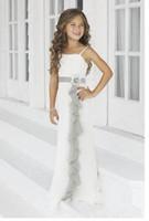 şifon fıstık çiçek kız elbiseleri toptan satış-2017 yaz Moda Kız doğum günü elbise uzun beyaz fildişi şifon çiçek kız elbise özel boyut 2 4 6 8 11 +