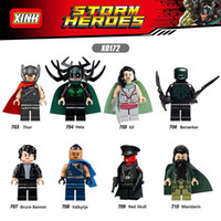 120pcs Mix Lot Super Heroes Minifig Thor Hela Sif Berserker Bruce Banner Valkyrja Red Skull Mandarin XINH X0167 Mini Building Blocks Figure