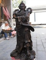 Chine Classique Bronze Cuivre Dragon Guan Gong Guan Yu guerrier Hold Sword Statue