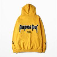 kadınlar için sarı sweatshirtler toptan satış-Toptan-Sonbahar Hoodies Justin Bieber tanrı'nın Amaç korku Turu Sarı Erkekler Kadın Sıcak Polar Hoodies Kapşonlu Kazak 3XL
