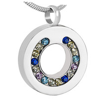 Wholesale Life Colour - IJD8195 Colours Crystal Inaly Circle of Life Round Pendant Stainless Steel Memorial Urn Ashes Jewelry Cremation Necklace Women's Accessories