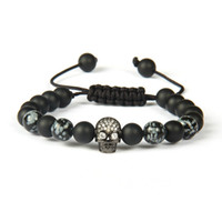Wholesale mm Best Quality Matte Agate And Obsidian Stone With Clear Cz Black Skull Macrame Bracelet For Men