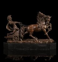 Wholesale Horse Bronze Sculpture - Vintage CRAFTS ARTS ATLIE BRONZES Classical Bronze Sculpture Solider with Horses Statues Military Collectables Home Decoration