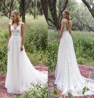 Wholesale Angelic Dress - limor rosen 2017 bridal sleeveless v neck heavily embellished angelic romantic a line Lace Vintage wedding dresses low back court train