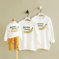 Wholesale Korean Casual Outfits - Australia 2017 Korean mother father daughter son clothes White sweater(cartoon banana) sisters same clothes family matching outfits