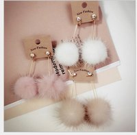 Mink hair long earrings black mink animal - Fashion Pairs Mixed Sterling Silver Stud South Korea with a really cute mink hair long earrings Korean color Fur Ball Earrings