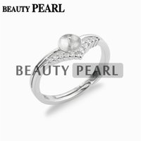 5 Pieces Pearl Ring Blanks Clear Cubic Zirconia 925 Sterling Silver Findings DIY Jewelry Ring Mount