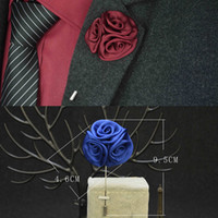 Wholesale Silk Suits China - Men Jewelry of Silk Flower Brooches Rose Cluster Floral Men Lapel Pins for Suits Handmade Boutonniere 20 Pcs Lot Mixed Color