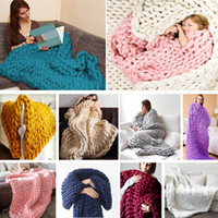 Wholesale thick warm blankets for sale - 100 cm Winter Spring Warm Chunky Knit Blanket Thick HandCrafted Kinitted Throw Photograph Blanket COlors cm HH7