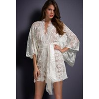 Wholesale Dress See Trough - Wholesale- women sexy crochet lace robe nightgown erotic lingerie female white mesh robe see trough transparent dress sleepwear LC21998-2