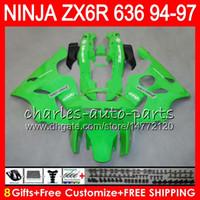 1996 kawasaki ninja zx6r großhandel-glänzend grün 8Gifts 23Colors Für KAWASAKI NINJA ZX636 ZX6R 94 95 96 97 ZX 636 ZX 6R 33NO37 600CC ZX-636 ZX-6R 1994 1995 1996 1997 Verkleidungssatz