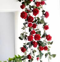 künstliche rosa rosengirlande großhandel-NEUES 1.8M gefälschtes künstliches hängendes Girlanden-Haus der roten Rose für Hochzeits-Ausgangsrosa-weiße dekorative Blumen geben Verschiffen frei MYY