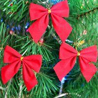 Wholesale wholesale xmas baubles - 12Pcs set Christmas Tree Bow Decoration Baubles New Year Ornaments Santa Claus Christmas Decoration Supplies XMAS Party Bows