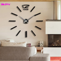 Venta al por mayor- reloj de pared diseño moderno wanduhr wandklok relojes pared auto adhesivo diy decoración casera pared relogio pared reloj redondo de acrílico