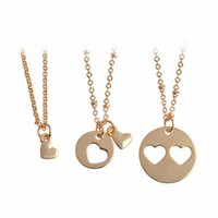 Wholesale Unique Gifts Family - 3pcs set Mother Daughter & Grandma Heart Pendant Matching Pizzle Necklace Family Jewelry Unique Keepsake Gift Christmas Party Prom Accessor