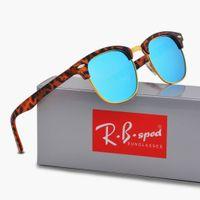 Wholesale Round Wraps - New polarized sunglasses for men women sun glasses brand designer Semi-Rimless frame uv400 protection polaroid lens with brown and box