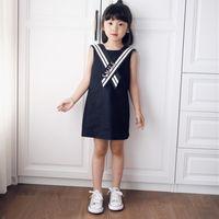 Wholesale Sailor Clothes For Girl - Summer Children Girls Dress Fashion Brand Kids Sailor Dresses Sleeveless Girl Clothes Navy Blue Princess Dress for Girl 926