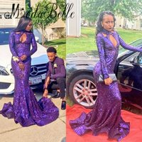 Wholesale Microfiber High Collar Shirts - 2017 Sexy High Neck Mermaid Long Sleeve Prom Dresses Purple Bling Sequined Long Train African Americans 2K17 Party Evening Gowns