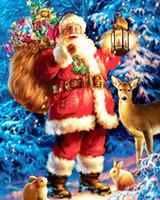 Wholesale Christmas Tree Spray - DIY Diamond Santas Christmas Tree Diamond Embroidery DIY Needlework Diamond Painting Cross Stitch 3D 5D Rhinestones Mosaic A3206