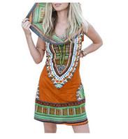 Wholesale Midi Sundresses - Boho Gypsy Tribal Hoodie Tunic Dress Women Sundress Traditional African Print Bazin Riche Dashiki Dress Sexy Sleeveless Bodycon Party Dress