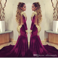 Wholesale ruffle white collar shirt - Burgundy Prom Evening Dresses 2017 Mermaid Long Sleeve High Neck Gold Sequins Beaded Long Formal Celebrity Pageant Gowns Sweep Train