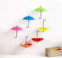 Wholesale Key Holders For Wall - 3PCs Creative Umbrella Shape Wall Mount Hook Key Holder Storage Stand Hanging Hooks For Bathroom Kitchen Door