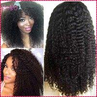 Wholesale Kanekalon European - Full Density Kinky Curly Black Women Synthetic Wig Bleached Knots Kinky Curly Lace Front Wig Kanekalon Top Quality free shipping