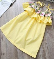 Wholesale Embroidered Neck - New arrival girl dresses kids dresses sweet charming embroidered boat neck princes gallus off-the-shoulder vest dress dresses 3T-8T 5pcs lot