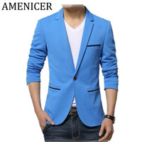 Wholesale Korean Mens Blazers - Wholesale- 2016 New Mens Casual Korean Blazers V-Neck Collar Khaki Slim Fit Cotton Fashion Suit Jacket Blazers For Mens Maillot Homme