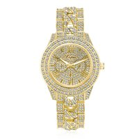 Wholesale Golden Mechanical Wrist Watch - Luxury Men's Watches Women Diamond Dress Clock Golden Stainless Steel Analog Watch Ladies Crystal Bracelet Wrist Watch