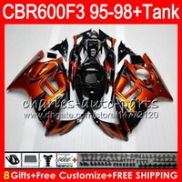 Wholesale 1996 Honda Cbr F3 Fairings - 8 Gifts 23 Colors For HONDA CBR600F3 95 96 97 98 CBR600RR FS 2HM31 gloss Orange CBR600 F3 600F3 CBR 600 F3 1995 1996 1997 1998 Fairing black