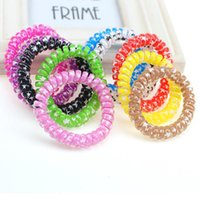Wholesale Heart Telephone - High-quality 5.5CM Candy Colored Telephone Line Gum Elastic Ties Cherry & heart prints Hair Ring Elastic Hair Bands