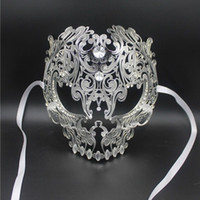 Wholesale Man Masquerade Masks Laser Cut - Wholesale- Black Full Face Skull Men Women Metal Laser Cut Silver Masquerade Party Masks Gold Red Ball Rhinestone Prom Venetian Mask