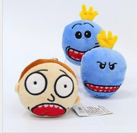Barato Escola De Brinquedos-Ricky Morty Plush Pingente Chaveiro School Backpack Anime Charm Toy Boneca Presente Morty head plush pendent LJJK751