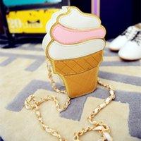 Wholesale Wholesale Girl Cupcake Dresses - Wholesale-New Cute Cartoon Women Ice cream Cupcake Mini Bags PU Leather Small Chain Clutch Crossbody Girl Shoulder Messenger bag LL1168
