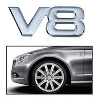 ingrosso emblemi del motociclo cromato-Auto Moto 3D metallo cromato V8 Car Sticker Logo Emblema Decal Badge Car Body Sticker universale