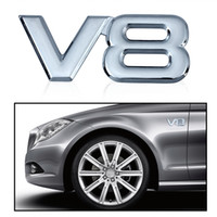 Car Motorcycle 3D Metal Chrome V8 Car Sticker Logo Emblema Decal Badge Car Body Sticker Universal