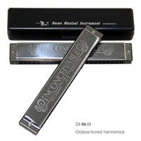 Wholesale Harmonica C 24 Holes - Wholesale-New 2016 Swan 24 Holes Octave-tuned harmonica,metal harmonica, Key of C with Case