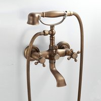 Wholesale Mixer Handle Shower - Antique Brass Shower Faucet Rotatable Shower Set Dual Handles Two Holes Mixer Tap with Hand shower Hot and Cold Included with Ceramic Valve