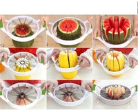 Wholesale Tools Cut Fruit - 2017 Kitchen Corer Slicer Easy Cutter Cut Fruit Knife Cutter for Watermelon Cantaloupe Splitters Stainless Steel Dicing Creative Tools