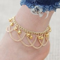 Wholesale Gold Bracelets For Boys - 2017 Tassel Leg Bracelet For Women Vintage Anklet Fashion To Beach Chaine Cheville Tobillera Chain Anklets Foot Jewelry Gold