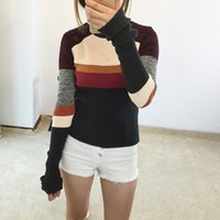 Wholesale Autumn Colored Sweaters - Wholesale-2016 new autumn winter fahsion colored striped slim wool knitted ladies pullovers christmas long sweaters women high quality