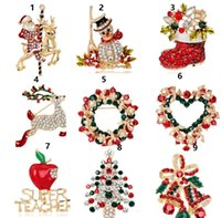 Wholesale Christmas Snowman Crystal Pins - Brooch Christmas tree on Christmas day boots snowman corsage santa sleigh bells penguin series cute brooches