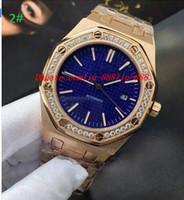 relógios de luxo azul venda por atacado-Relógios de luxo Relógio de Pulso Presente de Natal de Aço Inoxidável Rosa de Ouro Movimento Automático Mens Relógios Top Marca de Diamante Mostrador do Rosto Azul